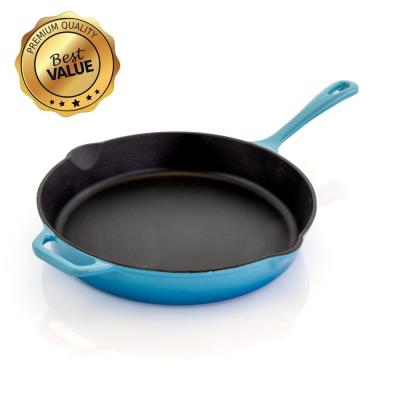 12 in. Cast Iron Nonstick Skillet in Blue