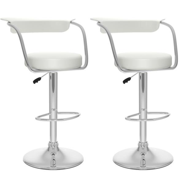 CorLiving Adjustable White Leatherette Open Back Bar Stool (Set of 2)