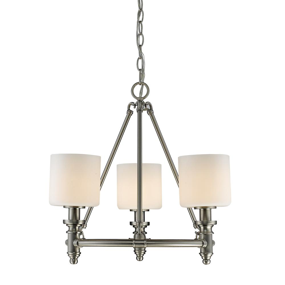 Beckford PW 3-Light Pewter Chandelier with Opal Glass Shade