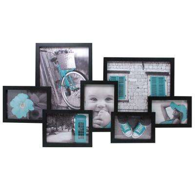 Lindo 7 Opening 2-4 x 6 in., 3-5 x 7 in., 2-8 x 10 in. Black Collage Frame