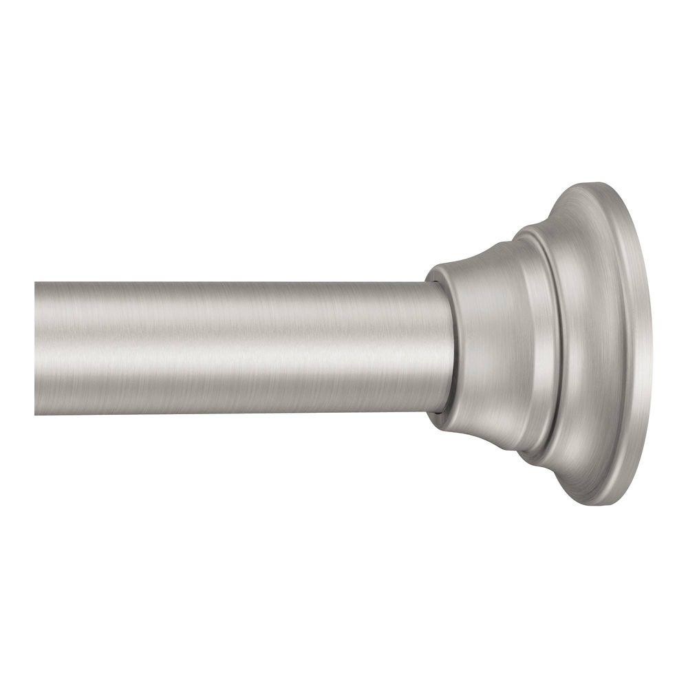Adjustable Straight Decorative Tension Shower Rod In Brushed Nickel