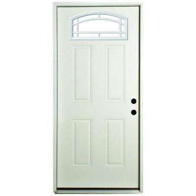 36 in. x 80 in. Cambertop Left-Hand Inswing Primed White Steel Prehung Front Door with 4 in. Wall
