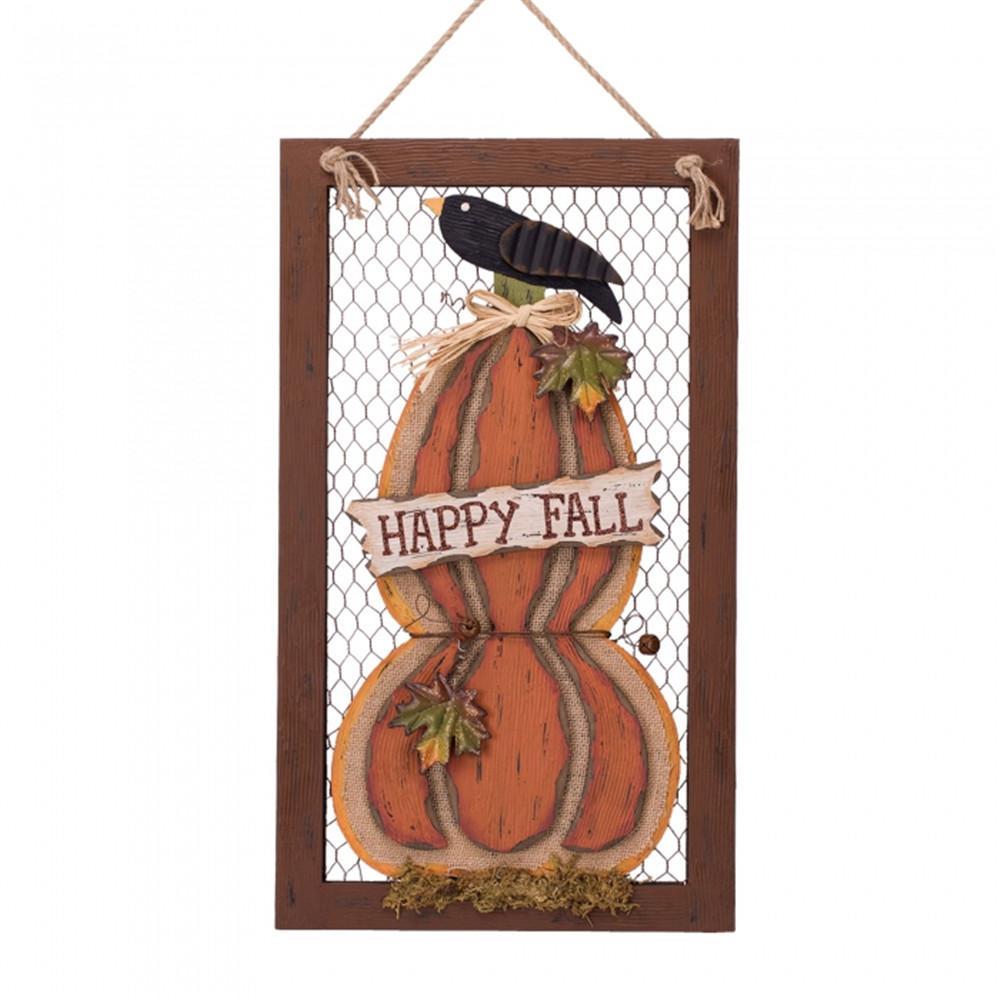 Glitzhome 22.06 in. H Wooden Frame Pumpkin Wall Decor-1210001712 ...