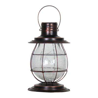 Solar Firefly 10 in. Bronze Lantern Light with Base