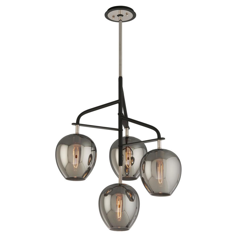 troy lighting odyssey 1 light carbide black and polished nickel