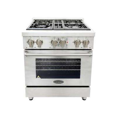 30 in. 3.9 cu. ft. Single Oven Dual Fuel Range with 4 Italian Gas Burners and Convection Oven in Stainless Steel