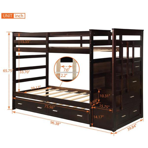 Espresso Solid Wood Bunk Bed For Kids