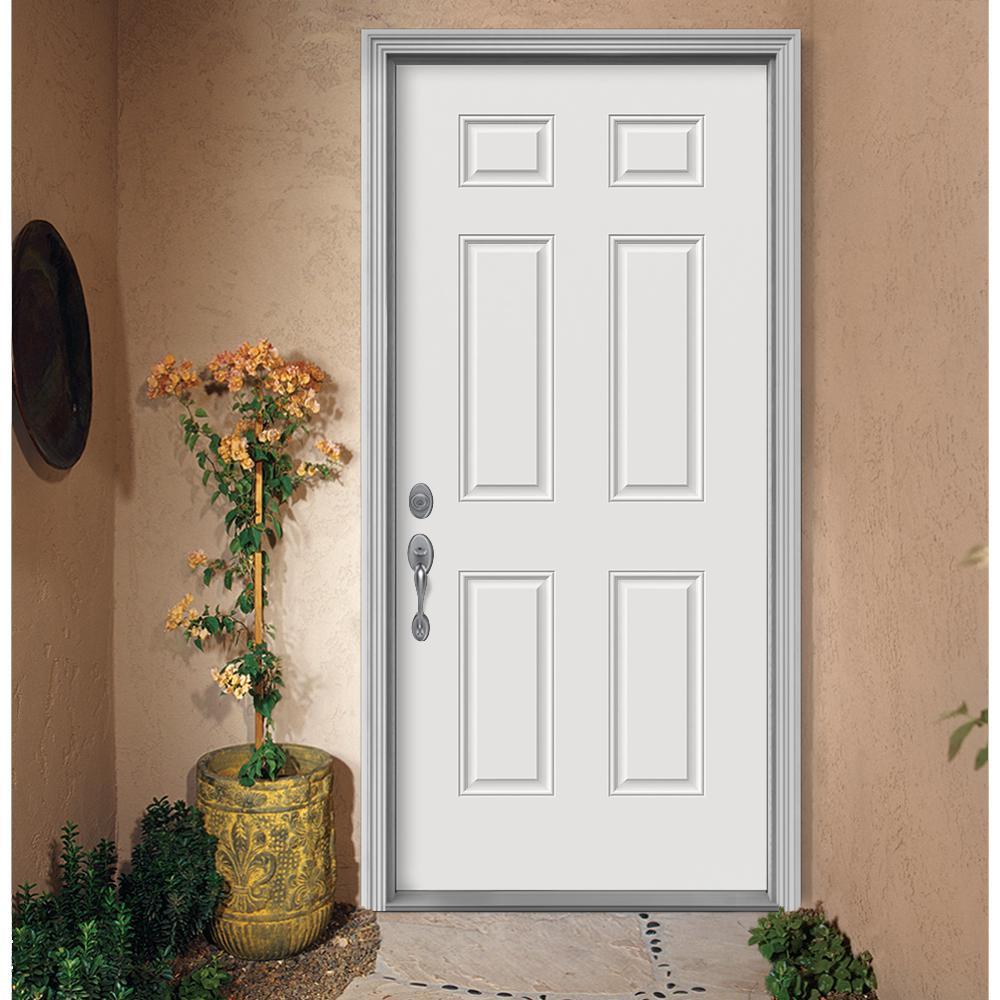 36 in. x 80 in. 6-Panel Primed Premium Steel Front Door Slab