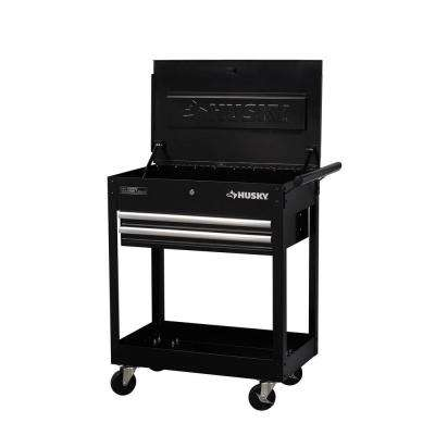 28 in. 2-Drawer Utility Cart, Black