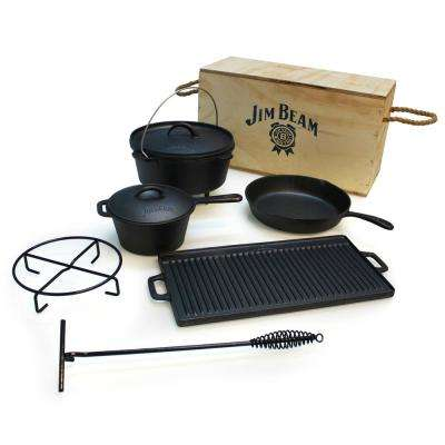 Cast Iron 6 Piece Grill Cookware Set with Wooden Box