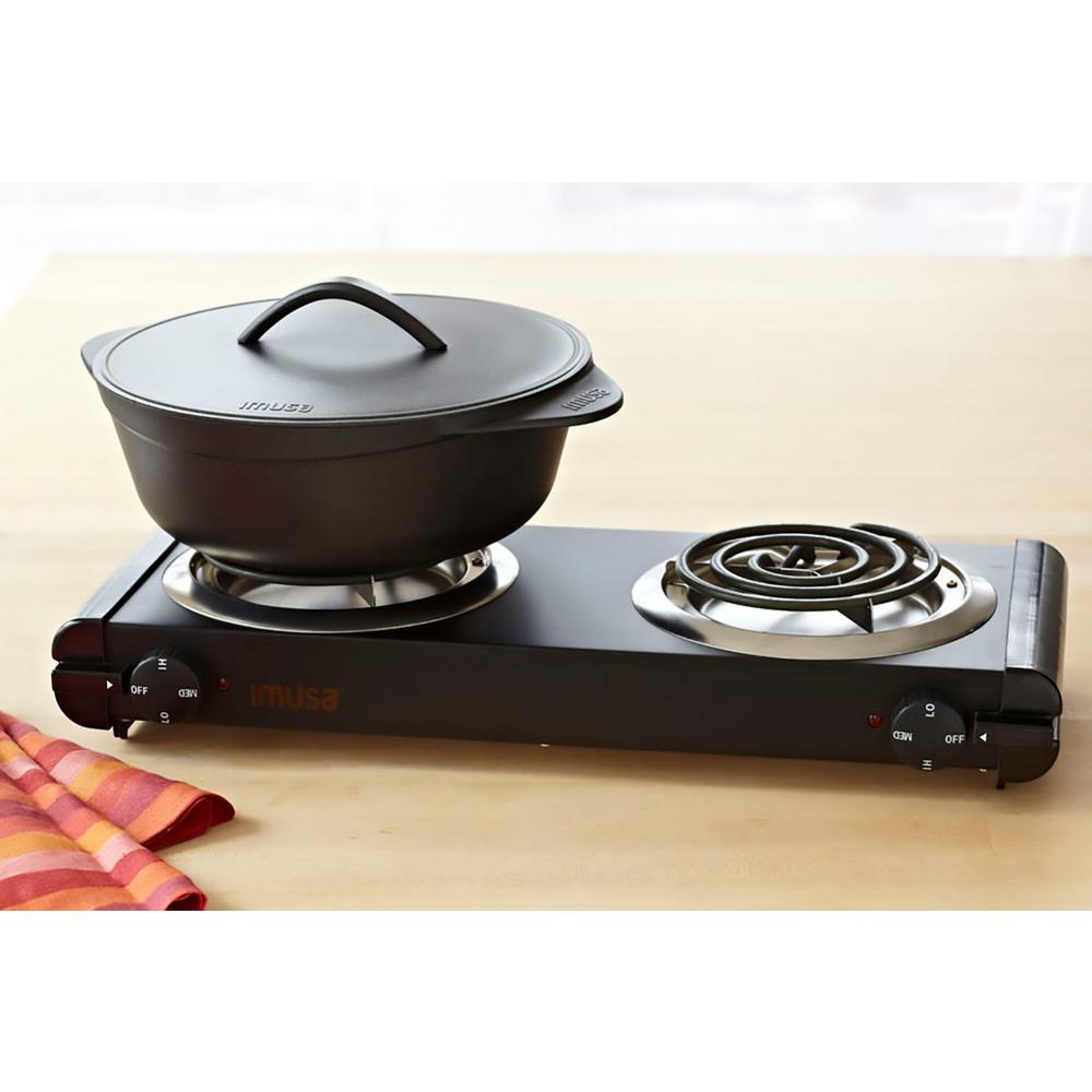 IMUSA Double Burner Hot Plate, Black