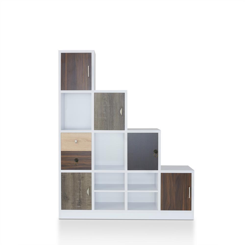 Chateau bookcase walnut leaning bookcase white modern bookcase walnut - Calenan White Staircase Bookcase