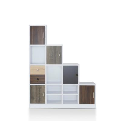 61.5 in. White Faux Wood 11-shelf Cube Bookcase with Doors