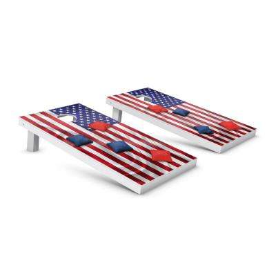 Red and Blue Bags American Flag Cornhole Toss Game Set