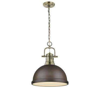 Duncan AB 1-Light Aged Brass and Rubbed Bronze Pendant