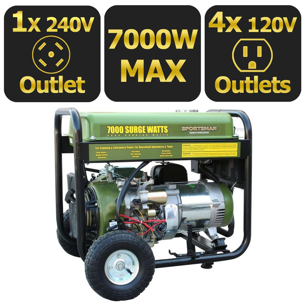 Sportsman 7,000-Watt Gasoline Powered Electric Start Portable Generator