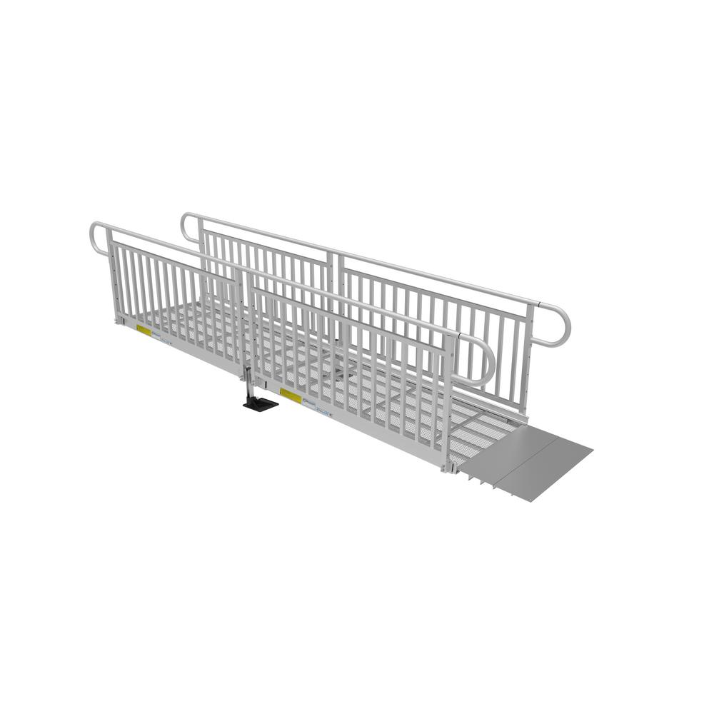 ez-access 12 ft  expanded metal ramp kit with vertical pickets-p3g sem12vp