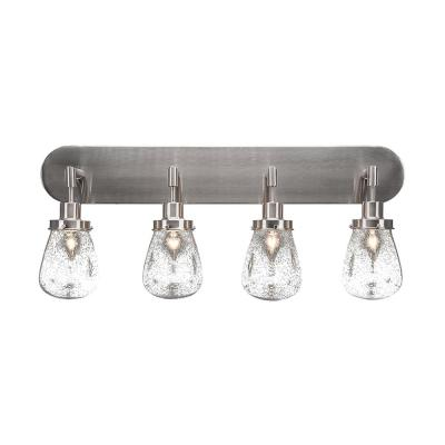 4-Light 32 in. Brushed Nickel Vanity Light with 5 in. Clear Bubble Glass