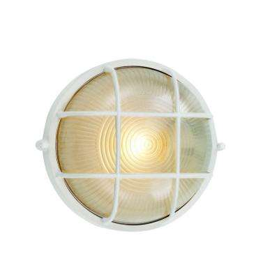 Energy Saving Bulkhead 1-Light Outdoor White Wall or Ceiling Mounted Fixture with Frosted Glass