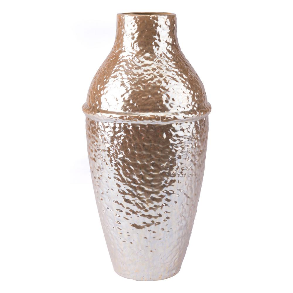 Pearl Yellow Textured Large Decorative Vase