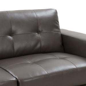 Brilliant Corliving Club Tufted Brownish Grey Bonded Leather Loveseat Short Links Chair Design For Home Short Linksinfo