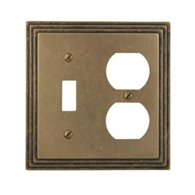 Tiered 2 Gang 1-Toggle and 1-Duplex Metal Wall Plate - Rustic Brass