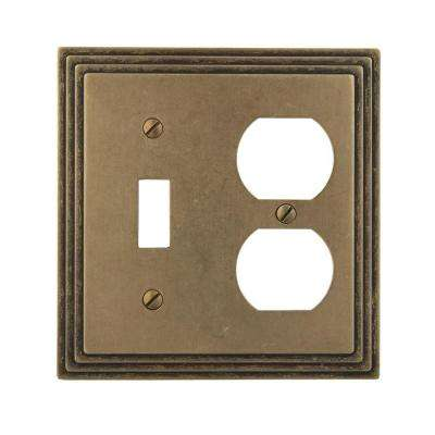 Steps 1 Toggle 1 Duplex Wall Plate - Rustic Brass