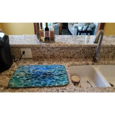 14 in. x 21 in. Multi-Color Crab Under Water Dish Drying Mat