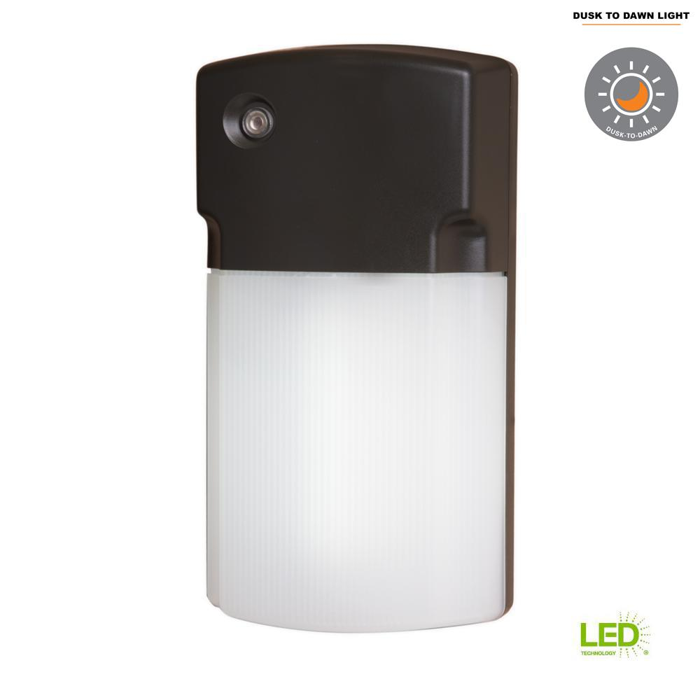Bronze Outdoor Integrated LED Wall Pack Light with Dusk to Dawn Photocell Sensor