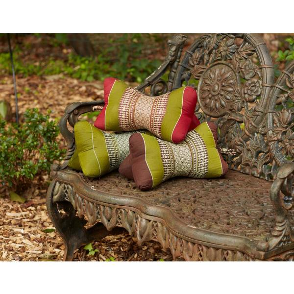 Star Sage and Brown Stripes Cotton 14.5 in. x 4.5 in. Throw Pillow