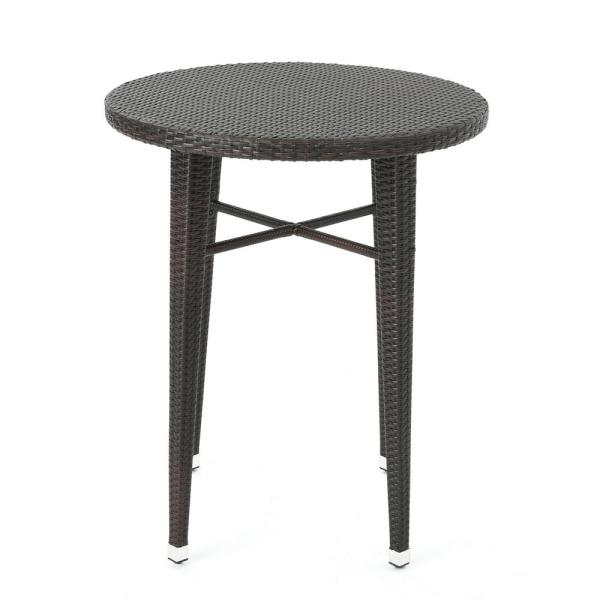 Dominica Multi-brown Round Wicker Outdoor Side Table