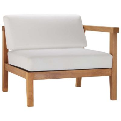 Bayport Natural Teak Right-Arm Outdoor Lounge Chair with White Cushions