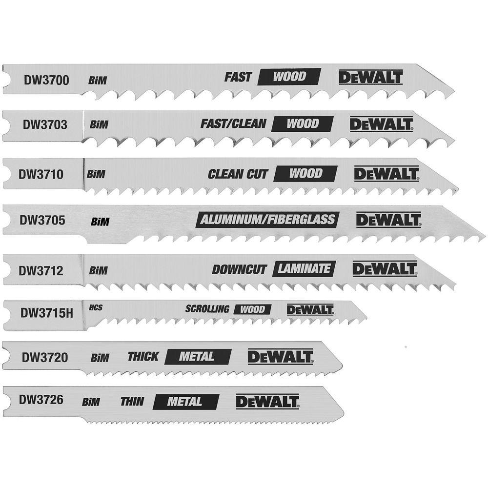 Dewalt multi purpose jigsaw blade saw blades the home depot jig saw blade set bi metal u shank 8 piece greentooth Choice Image