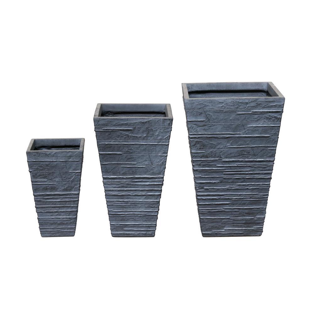 16 in. Clay Modern Tepered Fiber Planter (Set of 3)
