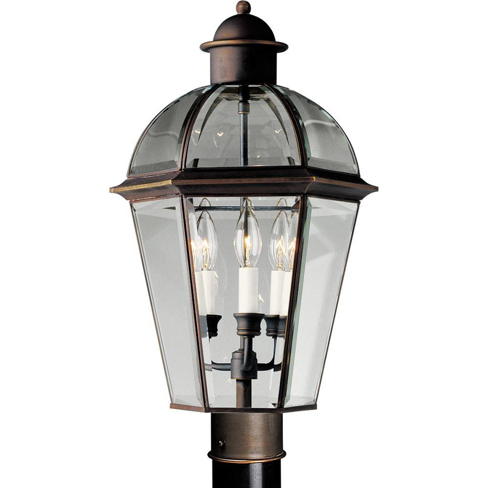 Progress Lighting Danbury 3-Light Outdoor Antique Bronze Post Lantern-DISCONTINUED