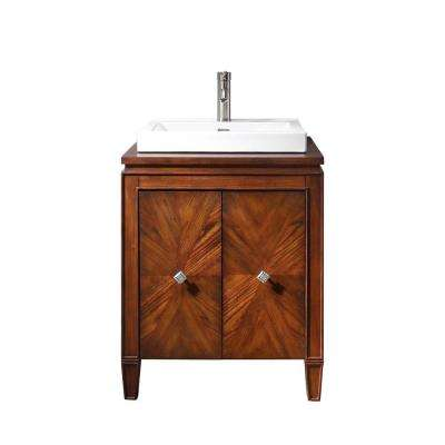 Brentwood 25 in. W x 22 in. D x 35 in. H Vanity in New Walnut with Vitreous China Vanity Top in White and Integral Basin
