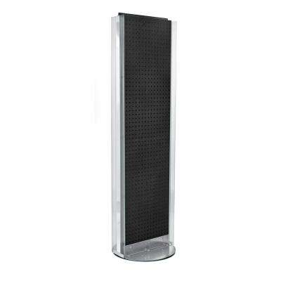 60 in. H x 16 in. W Pegboard Floor Display in Black with C-Channel Sides on a Revolving Base