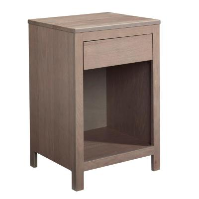 Jakob 1-Drawer Weathered Oak Nightstand 27 in. x 18 in. x 16 in.