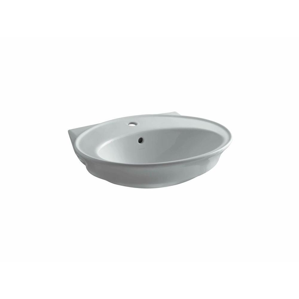 KOHLER Serif 5 in. Pedestal Sink Basin in Ice Grey-DISCONTINUED