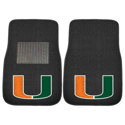 NCAA University of Miami 17 in. x 25.5 in. 2-Piece Set of Embroidered Car Mat