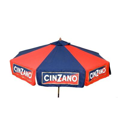 Cinzano 9 ft. Wooden Market Drape Patio Umbrella in Red and Blue