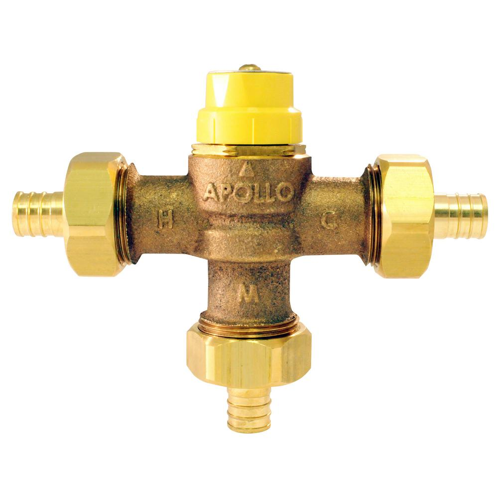 Thermostatic Mixing Valve: Apollo 3/4 In. Lead Free Bronze PEX Barb Thermostatic