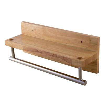 15.75 in. Wall Mount Towel Bar in Wood