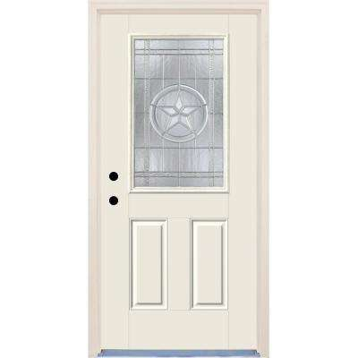 36 in. x 80 in. Texas Star Decorative Glass Classic Painted Fiberglass Prehung Front Door with Brickmould