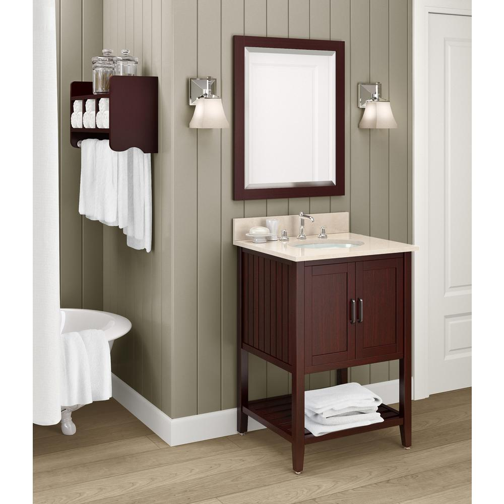 Alaterre Furniture Bennett 25 in. W x 22 in. D Vanity in Espresso with Marble Vanity Top in Beige with White Basin and Mirror