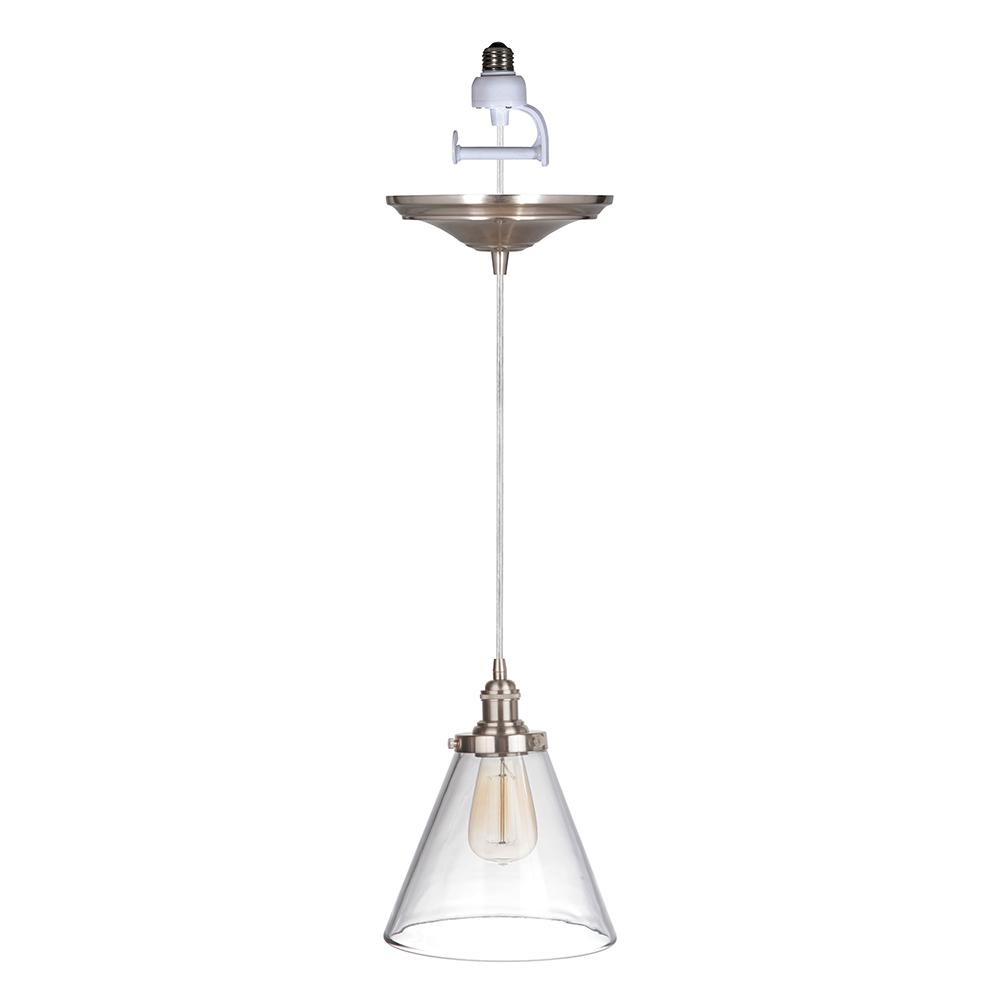 Instant Pendant 1 Light Brushed Nickel Recessed Conversion Kit With Clear Pyramid Gl Shade
