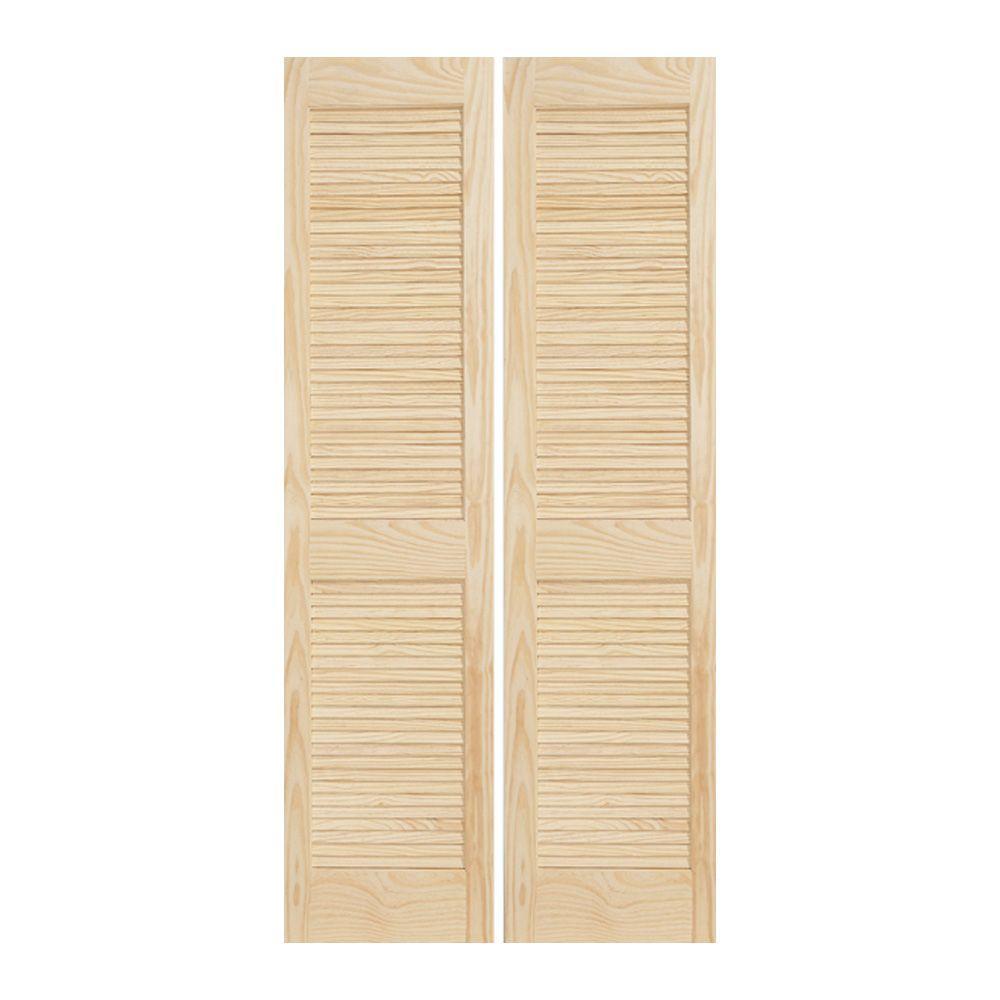 JELD-WEN 24 In. X 80 In. Woodgrain 2-Panel Full Louver