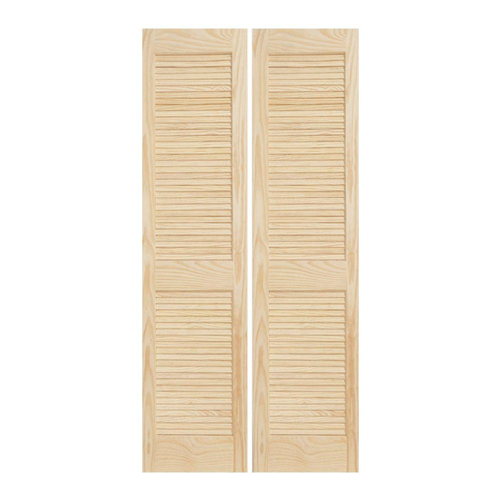 Jeld Wen 30 In X 80 In Woodgrain 2 Panel Full Louver Solid Core Wood Interior Closet Bi Fold