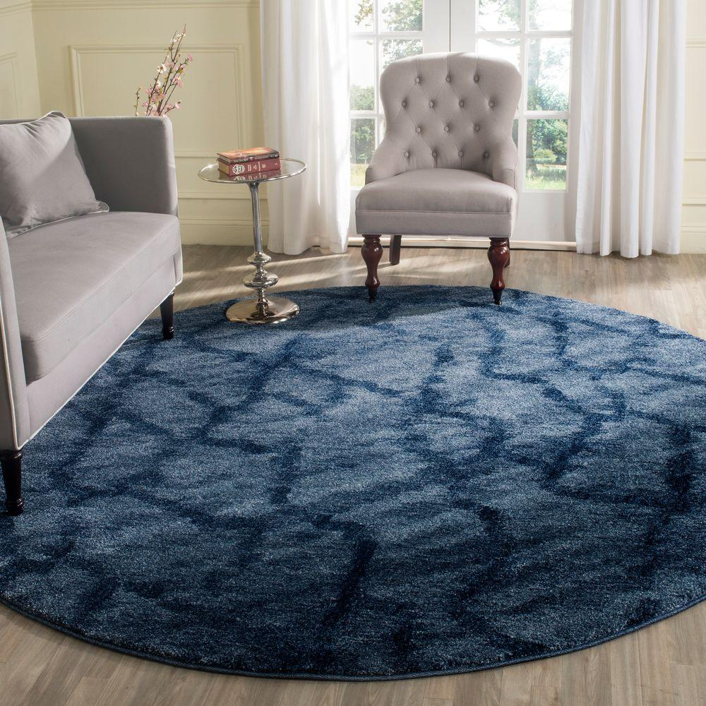 Amazing Safavieh Retro Blue/Dark Blue 8 Ft. X 8 Ft. Round Area Rug