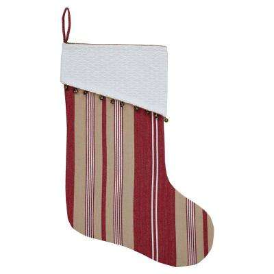 15 in. 100% Cotton Vintage Stripe Candy Apple Red Farmhouse Christmas Decor Stocking